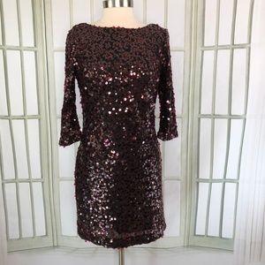 Jessica Simpson Dress Sequin Sheath Draped Back